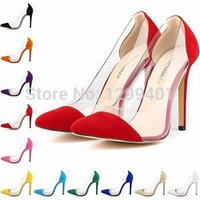 Wholesale Purple Velvet High Heel Shoes - Wholesale-Womens Sexy Stilettos Velvet High Heels Pointed Toe Party Prom Pumps Court Shoes US Size 35-42