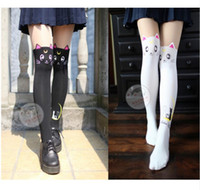 Wholesale free white pantyhose - Anime Sailor Moon Cosplay Luna Cat Pattern Pantyhose Tights Socks Stockings Free Shipping