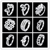 Wholesale Cheaper Silver Jewelry - Mixed wholesale jewelry rings 925 sterling silver fashion minimalist style Christmas gift 9pcs   lot cheaper Promotions Free shipping