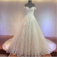 ingrosso vestito da cerimonia nuziale in pizzo-abiti da sposa abiti da sposa medio Oriente 2016 con applicazioni di pizzo con filo di lusso