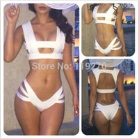 Wholesale Shoulder Strap Bikini - Free shipping Lady Sports White Bandage Bikini Set Hollow Out Push Up Swimwear Shoulder Strap Style Biquini Swim suit 1 Set