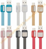 Wholesale noodle usb phone cord resale online - Colorful flat noodle Micro pin usb data sync charging cable cord line for samsung s6 s7 edge note htc android phone