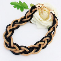Wholesale Twisted Chunky Choker Necklace - Wholesale-Bohemian Style Metal Braid Twist Chain Choker Chunky Necklaces For Women Punk Jewelry Gifts Free Shipping