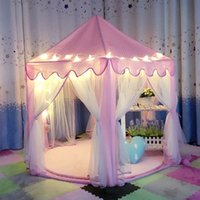 All'ingrosso-Lovely Girls Pink Portable Princess Castle Cute Playhouse Bambini Kids Play Tenda Outdoor Toys Tenda da spiaggia per bambini Bambini