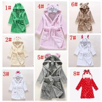 Wholesale Children Bath Robe Towel - Baby k cotton flannel nightgowns child night-robe kids bathrobe cute cartoon bath towel hooded kids warm winter animal Sleepwear KKA3309