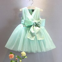 Wholesale Korean Clothes Sizing For Kids - 2015 summer style V-neck brand new fresh girls children sundress Korean fashion bow mesh dress for girls party kids clothes 2-7