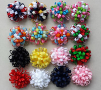 Wholesale New Ribbon Grosgrain Printed - 48pcs Christmas New hair accessories kids Grosgrain Ribbon boutique Xmas bows clip flower baby girls headband loopy bow HD3236
