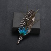 Wholesale feather lapel pins - Handmade Feather Brooches Vintage Multicolor Boutonniere Stick Brooch Pin Exquisite Brooch for Men Suit Lapel Pin