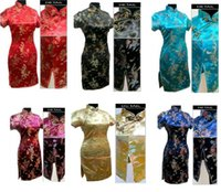 nouvelles robes traditionnelles achat en gros de-Livraison gratuite nouvelle arrivée robe traditionnelle chinoise Qipao Dragon phoenix imprimer soie courte cheongsam robe chinoise Qipao robe vintage J406X