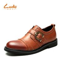 zapatos anaranjados al por mayor-2018 nuevo otoño zapatos de vestir de cuero genuino para hombre negro marrón naranja Hebilla Correa de los hombres negro marrón formal de la boda zapato