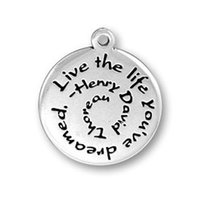 Wholesale Word Beads Wholesale - 30 pcs zinc alloy antique silver Live the Life you've dreamed Henry David Thoreau graduation gift inspirational word charms