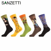 Wholesale Oil Painting Queen - Wholesale- SANZETTI 5 pair lot Men's Funny Socks Painting Retro Oil Painting Renaissance Ancient Babylon Queen Happy Socks Cotton Socks