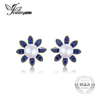 Wholesale Cultured Pearl Studs - JewelryPalace Flower 0.35ct Created Blue Spinel Cultured Pearl Studs Earrings Soild 925 Sterling Silver Fine Jewelry Accessories