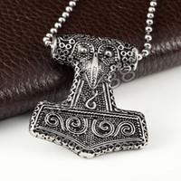Wholesale Mens Titanium Pendants - Viking Norse Odin Thors Mjolnir Hammer Stainless Steel Mens Pendant Necklace for Man