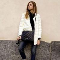 Wholesale Cheap Faux Coats - 2016 Lady Faux fur coat sleeve faux medium-long women's winter overcoat girl's warm outerwear Cheap jackets rabbit Fur 7XL H6 manteau