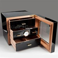 Wholesale COHIBA Luxury Black High Glossy Piano Finish Cedar Wood Cigar Cabinet Humidor Storage Box W Drawers Hygrometer Humidifier