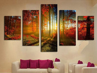 Wholesale Wall Art Wood Panels - Forest and Sunset Sunlight Autumn Red Woods 5 Panel Canvas Print Painting Modern Wall Art Unframed Painting Home Decoration