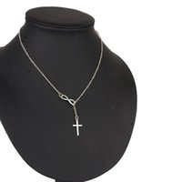 Wholesale Cross Christmas Ornaments Wholesale - 12pcs lot Woman's Jewelry Alloy Necklace Neck Chain With Infinity Symbol Cross Pendant Necklet Party Neck Ornament jn200