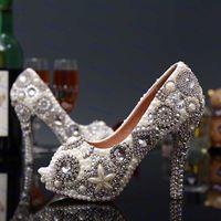 Wholesale White Rhinestone Peep Toe Heels - Unique Ivory Pearl Rhinestone Wedding dress Shoes Peep Toe High Heeled Bridal Shoes Waterproof Woman Party Prom Shoes