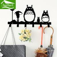 llaves decorativas ganchos al por mayor-Al por mayor-Totoro Creative Metal Coat ganchos para las llaves del bolso de pared decorativos para ganchos Cap Rack Clothes Cartoon Hangers 6 ganchos
