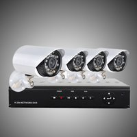 h 264 dvr cctv systems al por mayor-Actualice el sistema de seguridad para el hogar H.264 4CH 960H DVR de red con cámaras a prueba de agua de 4 piezas 700TVL, sistema de CCTV 500G HDD H203