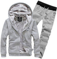 Wholesale Tracksuit Sets For Men - New Arrival 2015 Tracksuit for Man Casual Spring Autumn Thicking Hoody Fur Lining Fleece Hoodies Pant Men's Sports Clothing Sets Sweat Suits