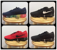 2018 Barato Air Cushion Hombres Mujeres Zapatillas Negro / Rojo / Púrpura Kpu Transpirable Rainbow Unisex VapormaXes Athletic Sport Sneakers