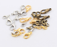 Wholesale Silver 12mm - Hot MIC New 10mm 12mm 14mm 16mm 18mm Silver Gold Bronze Plated Alloy Lobster Clasps Clasps
