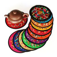Wholesale Tea Table Mats - China Style Embroidery Drinks Coasters Round Flower Table Cup Mat Coffee Drink Placemat Cup Cushion Tea Cup Holder