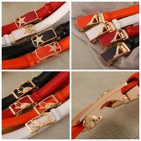 Wholesale candy color jeans - Women Leather Belt Waist Strap With Gold Automatic Buckle Female Candy Color Jeans Cowhide Strap Waistband Belts 20 Styles LJJO3535