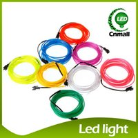 Wholesale Led Flexible Car Lights - 5M LED Neon Sign Neon Light Glow EL Wire Led Strip Tube Car Dance Party Bar Decoration+Controller Flexible Neon Light LED Christmas Strip