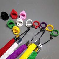 Wholesale E Cig Necklaces - EGO Silicone Ring Colorful Necklace E cig Lanyard with Silicone Rings For Evod ego ce4 ce5 Vivi Nova Tank E cigares Rope
