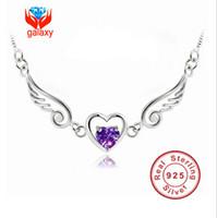 Wholesale Beautiful Necklaces For Sale - Hot Sale Wholesale Beautiful Angel Wings 925 Sterling Silver Necklace Purple Swiss CZ Heart Pendant Necklace For Women ZHH65