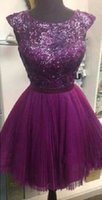 Wholesale Sheer Halter Bridesmaid Dress - Charming Sexy A Line Short Purple Prom Dresses Sleeveless Crew Cut Out Back Sheer Bling Sequin Bridesmaid Dress Chiffon Evening Gowns