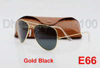 Wholesale Large Framed Mirrors Wholesale - 10pcs Designer Classic Sunglasses Mens Womens Sun Glasses Gold Frame Black 58mm Glass Lenses Large Metal Brown Case Excellent Quality