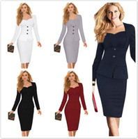 Wholesale 2016 Fall False Two Pieces Long Sleeve Wear to Work Dresses Sweetheart Pleats Knee Length Pencil Dress with Peplum OXL150301