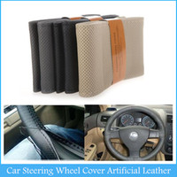 Wholesale Black Gray Steering Wheel Cover - Popular DIY Car Steering Wheel Cover Artificial Leather Hand Sewing with Needle and Thread Black Beige Gray C436