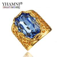 ingrosso i monili dell'anello di diamante blu-YHAMNI Luxury Unisex Fashion Gold Filled Blue Diamond Anelli di nozze per gioielli donna R288