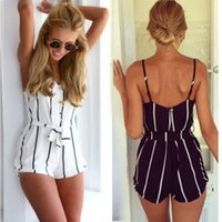 Wholesale Casual Elegant Jumpsuit - 2015 New Womens Sexy Loose Jumpsuit Casual striped Print Rompers Womens Jumpsuit summer Shorts Elegant Macacao Feminino