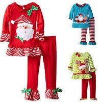Wholesale 5t Winter - Baby Girls Fashion Autumn Bowknot Suits Christmas Stripe Lace Dot T-shirt Dress+Pants Sets Long Sleeve Pajamas Infant Boutique Outfits