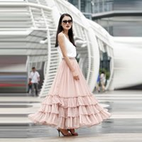Wholesale Solid Light Blue Ball Gown - Trendy Ruffles Tiered Puffy Ball Gowns Light Pink Skirts For Long Women Fashion Skirt Elastic Style Floor Length Plus Size Skirts For Women