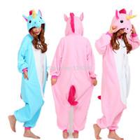 pyjama onesie großhandel-Nico das Einhorn Erwachsene Rosa Blau Einhorn Strampler Kostüm Frauen Männer Tier Pyjamas Pyjama Overall Party Halloween Cosplay Kostüm