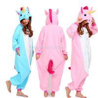 ingrosso pigiama unicorno blu-Nico l'unicorno adulto rosa blu unicorno tutina costume donna uomo pigiama animale pigiama tuta festa di halloween costume cosplay