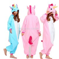 pijamas onesies adultos al por mayor-Nico the Unicorn Adultos Pink Blue Unicorn onesie traje Mujeres Hombres pijama animal pijama Jumpsuit party halloween cosplay costume
