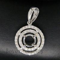 Wholesale Diamond Pendant Semi Mount Round - Wholesale-Round 5mm Solid 14Kt White Gold 0.28Ct Diamond Semi Mounting Setting Pendant