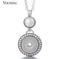 Wholesale Pearl Shaped Silver Necklace - VOCHENG NOOSA Round Shape Pearl Pendants 18mm Snap Charms Necklace Ginger Snaps Pendant Jewelry with Stainless Steel Chain NN-062