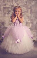 Wholesale Trendy Ball Gowns - Lavender Tutu Flower Girl Dresses 2016 Trendy Vintage Lace with Handmade Flowers Floor Length Kids Communion Princess Gowns Custom