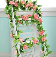 Wholesale Sticker Plastic Roses Flower - Artificial flowers simulation rattan vine roses decorative plastic flower vine pipe air conditioning pipe decorative wall stickers wounded i