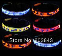 Wholesale Waterproof Led Necklace - Fashion Classic Waterproof Lattice Bone LED Glow Flashing Pet Dog Collar Night Safety Necklace 5pcs lot S M L XL