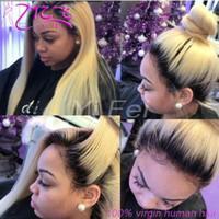 blonde hair dark roots wig toptan satış-Düz 1b 613 Tutkalsız Tam Dantel Peruk Remy İnsan Saç ile bebek Saç Ombre 1B 613 Koyu Kökleri Sarışın Siyah Kadınlar için